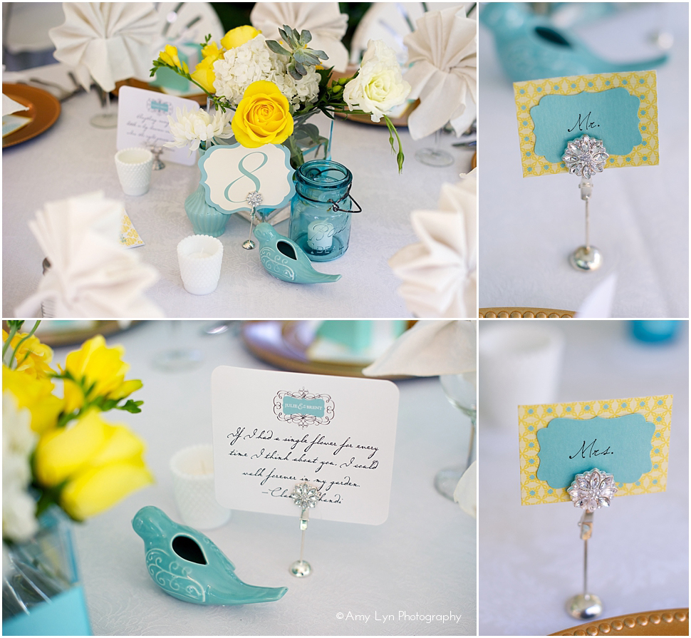 decoracao de casamento azul tiffany e amarelo:Tiffany Blue and Yellow Wedding Centerpieces