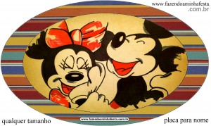 placa elipse Mickey e Minnie Noivado