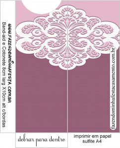 envelope  Kit Toilet Lilas com renda Branca